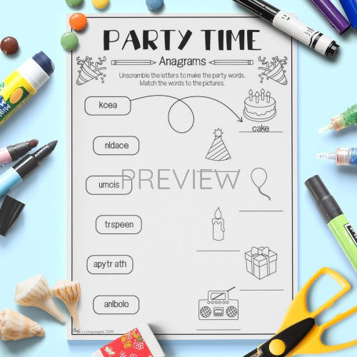ESL English Kids Party Time Anagrams Activity Worksheet