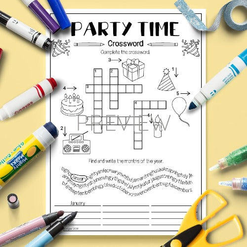 ESL English Kids Party Time Crossword Activity Worksheet