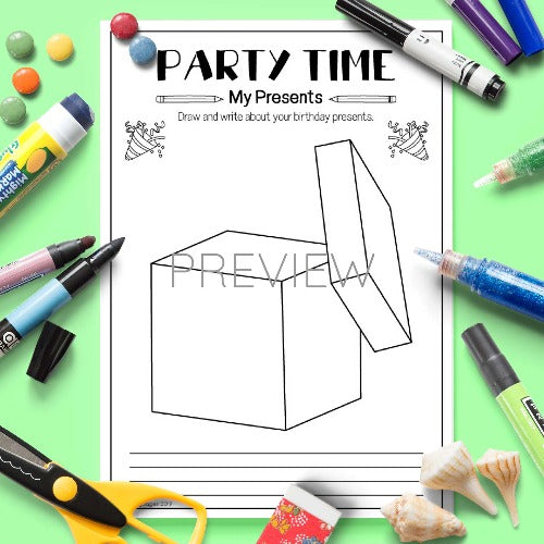 ESL English Kids Party Time Draw and Write Activity Worksheet