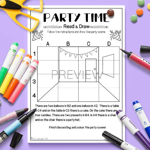 ESL English Kids Party Time Read and Draw Activity Worksheet
