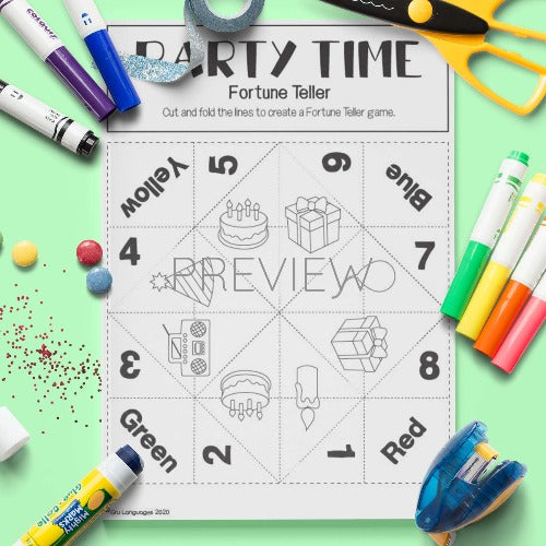 ESL English Party Time Fortune Teller Craft Activity Worksheet