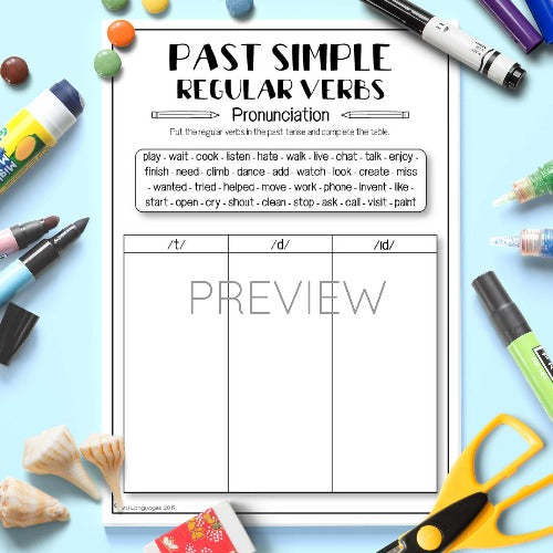 ESL English Kids Past Simple Regular Verbs Pronunciation Activity Worksheet