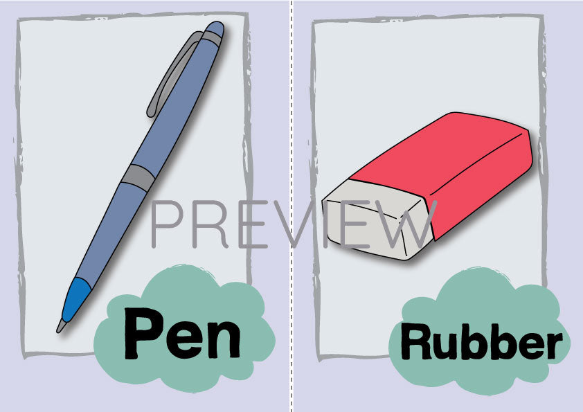 Pen and Rubber Flashcard