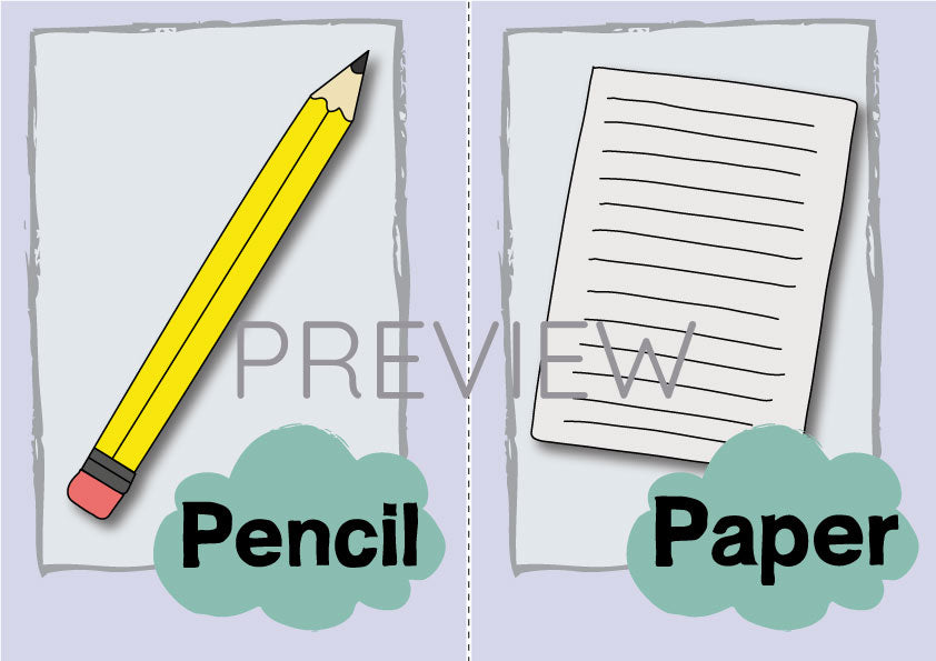 Pencil and Paper Flashcard