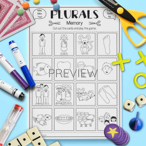 ESL English Kids Irregular Plurals Memory Game Worksheet