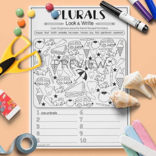 ESL English Kids Look and Write Plurals Practice Worksheet