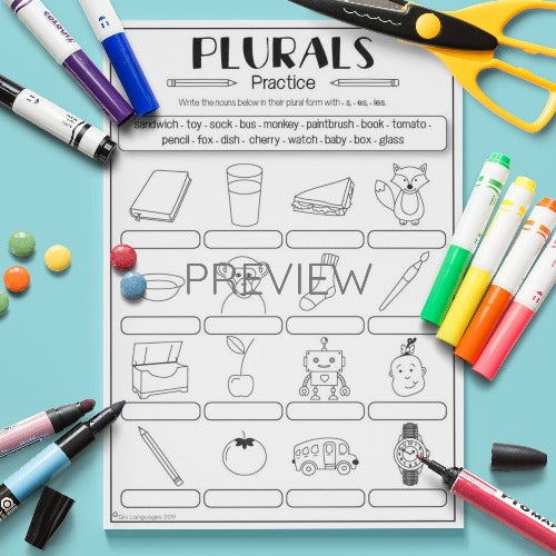 ESL English Kids Plurals Practice Worksheet