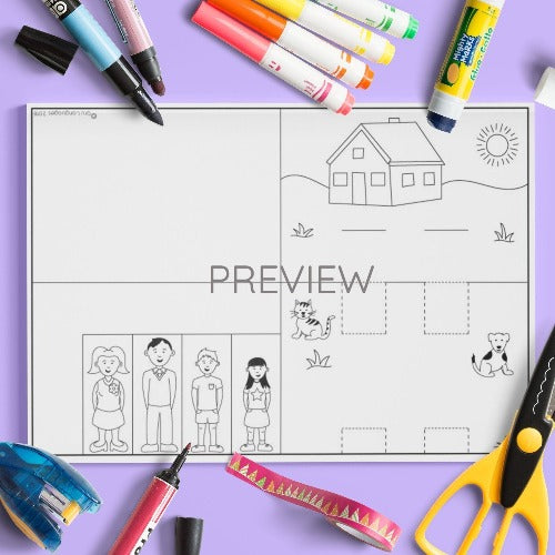 ESL English Kids Family Pop Up Scene Craft Worksheet