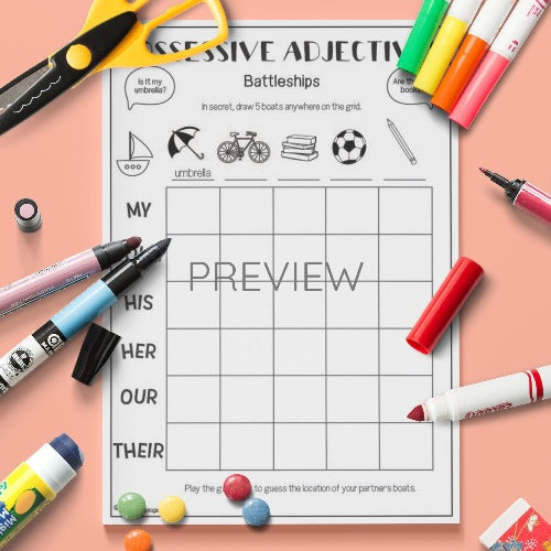 ESL English Possessive Adjectives Battleships Game Activity Worksheet