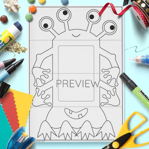 ESL English Kids Face and Body Monster Pull Down Craft Worksheet