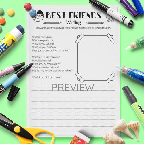 ESL English Kids Best Friends Writing Activity Worksheet