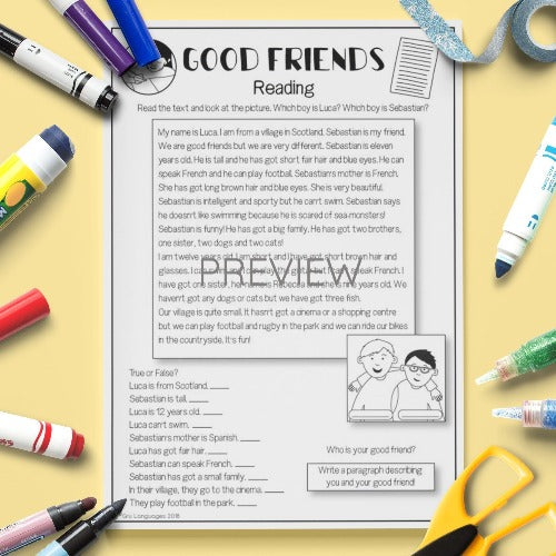 ESL English Kids Good Friends Worksheet