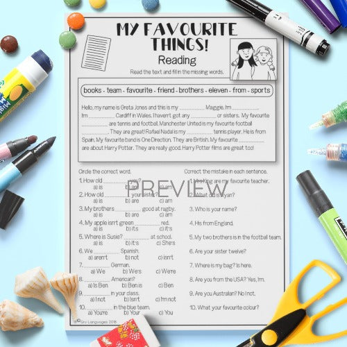 ESL English Kids My Favourite Things Worksheet