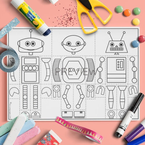 ESL English Kids Face and Body Robot Mix and Match Craft Worksheet