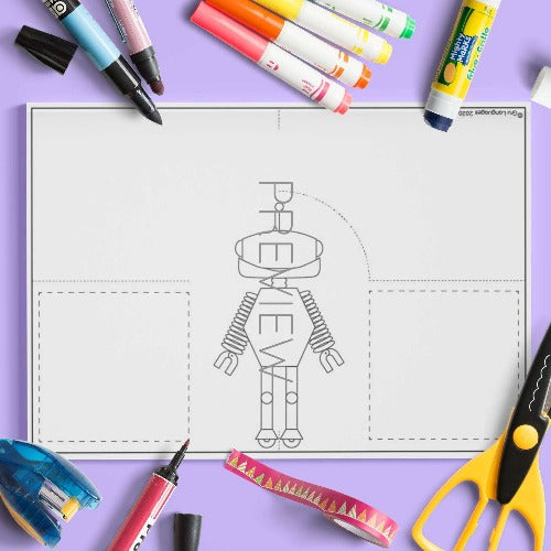 ESL English Robot Body Stand Up Craft Activity Worksheet