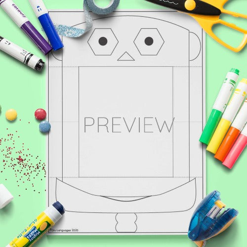 ESL English Robot Face Pull Down Craft Activity Worksheet