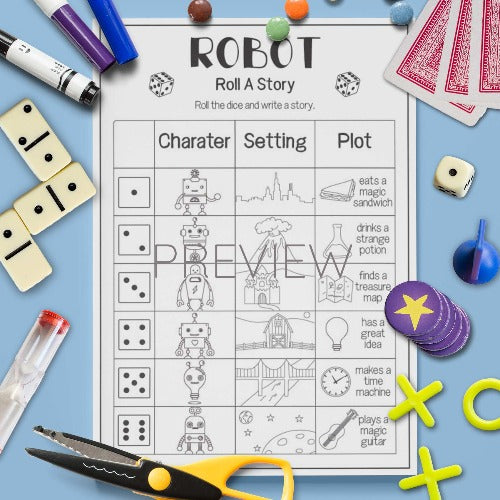 Robot 'Roll A Story' Game
