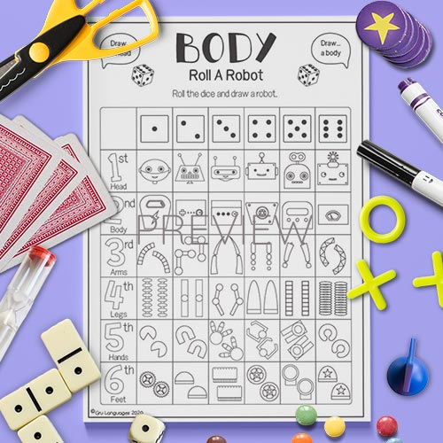ESL English Roll A Robot Body Dice Game Worksheet