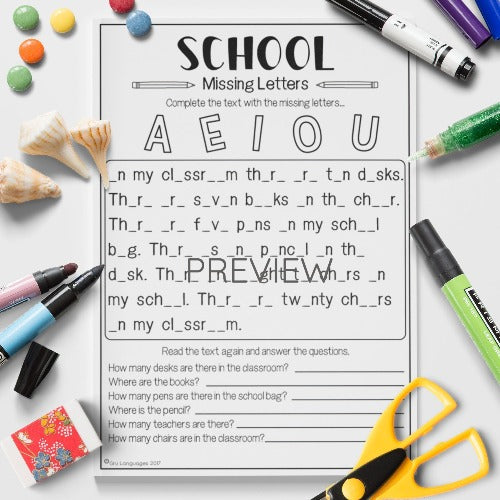 ESL English Kids School Missing Vowels Worksheet
