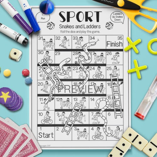 ESL English Kids Sport Snakes and Ladders Game Worksheet