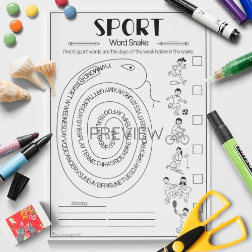 ESL English Kids Sport Word Snake Worksheet
