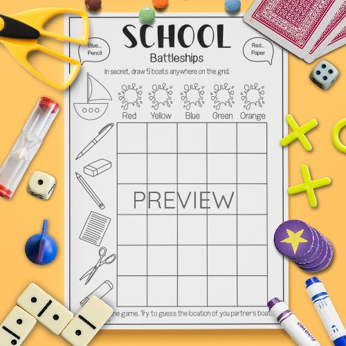 ESL English Kids School Battleships Game Worksheet