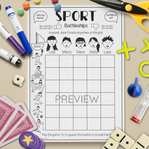 ESL English Kids Sport Battleships Game Worksheet