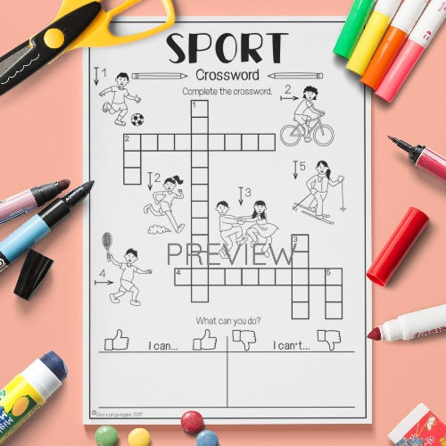 ESL English Kids Sport Crossword Worksheet