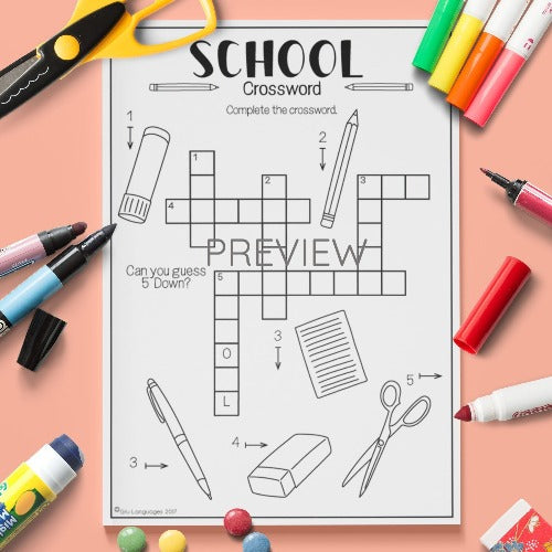 ESL English Kids School Crossword Worksheet