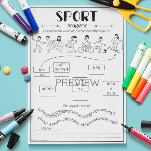 ESL English Kids Sport Anagrams Worksheet