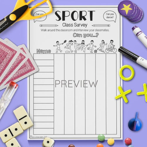 ESL English Kids Sport Class Survey Worksheet