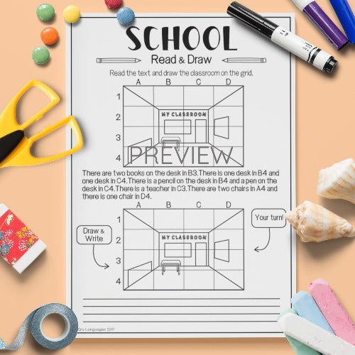 ESL English Kids School Read and Draw Worksheet