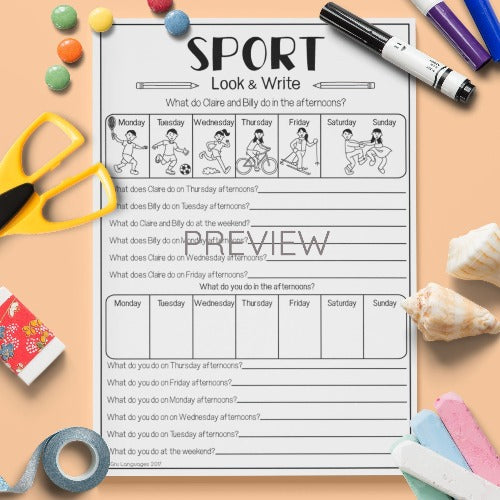 ESL English Kids Sport Look and Write Worksheet