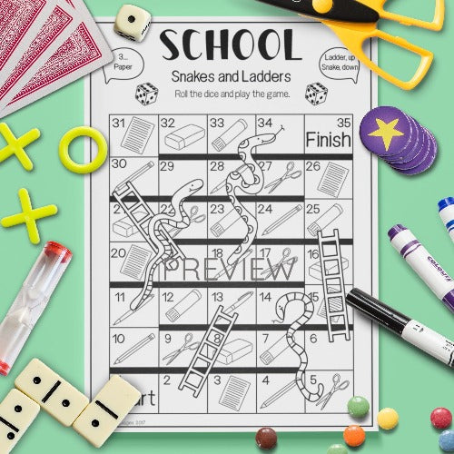 ESL English Kids School Snakes and Ladders Game Worksheet