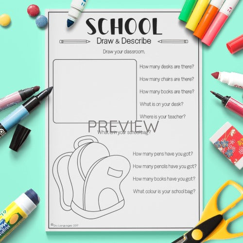 ESL English Kids School Draw and Describe Worksheet
