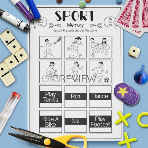 ESL English Kids Sport Memory Game Worksheet