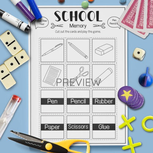 ESL English Kids School Memory Game Worksheet