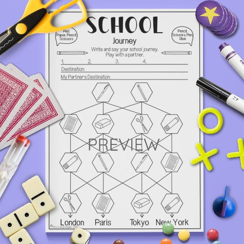 ESL English Kids School Journey Game Worksheet