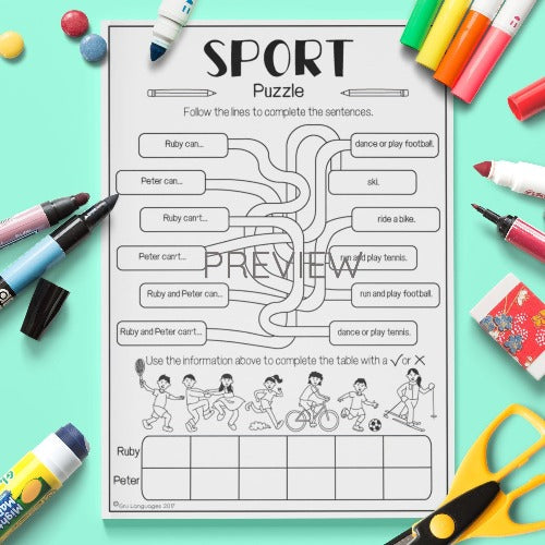 ESL English Kids Sport Puzzle Worksheet