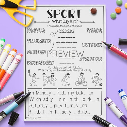 ESL English Kids Sport What Day Is It? Worksheet