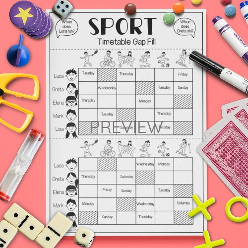 ESL English Kids Sport Timetable Gap Fill Game Worksheet