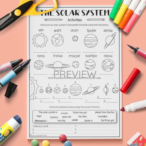 ESL English Kids Space The Solar System Worksheet