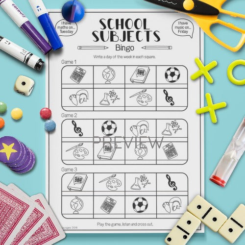 ESL English Kids School Subjects Bingo Game Worksheet