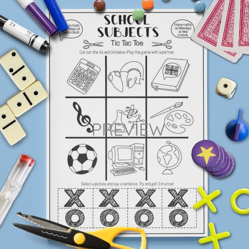 ESL English Kids School Subjects Tic Tac Toe Game Worksheet