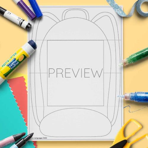 ESL English Schoolbag Craft Activity Worksheet