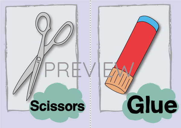 Scissors and Glue Flashcard