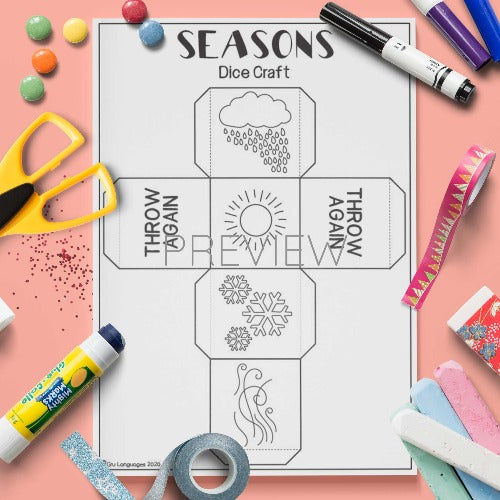 ESL English Seasons Dice Craft Activity Worksheet