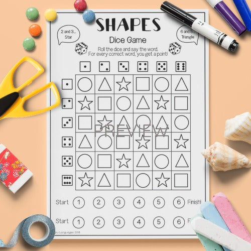 ESL English Kids Shape Dice Game Activity Worksheet