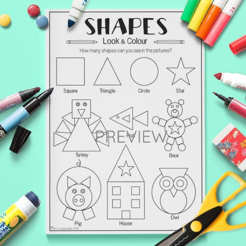 ESL English Kids Shapes Look And Colour Worksheet