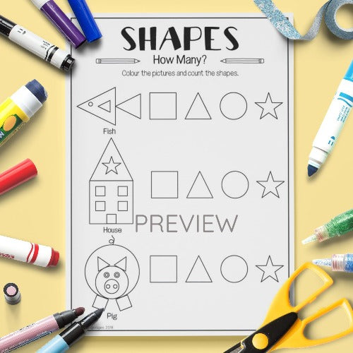 ESL English Kids Shapes How Many Shapes? Worksheet